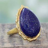 Gold vermeil lapis lazuli cocktail ring, 'Royal Fascination' - Gold Vermeil Lapis Lazuli Cabochon Cocktail Ring from India