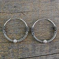 Sterling silver hoop earrings, 'Ancient Mughal' - Indian Endless Hoop Style Earrings in 925 Sterling Silver