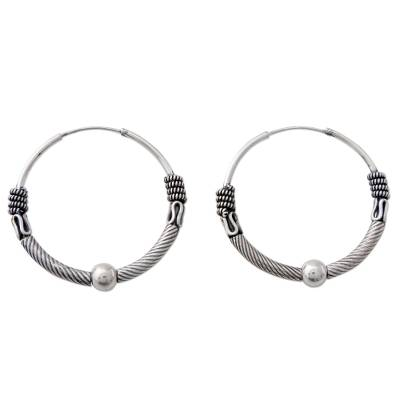Indian Endless Hoop Style Earrings in 925 Sterling Silver