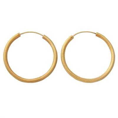 Handcrafted 22K Gold Plated and Sterling Silver Hoop Earring