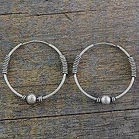 Sterling silver hoop earrings, 'High Wire' - Artisan Crafted Sterling Silver Endless Hoop Earrings
