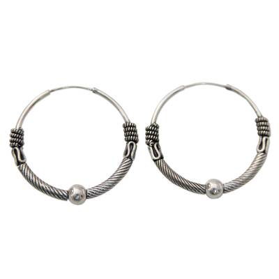 Endless Hoop Style Earrings in Sterling Silver from India