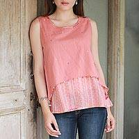 Cotton blouse, 'Peachy Trend' - Artisan Crafted 100% Cotton Peach Blouse from India