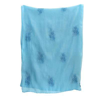 Cotton and silk blend shawl, 'Blue Floral Passion' - Chikan Embroidered Cotton and Silk Blend Shawl in Blue