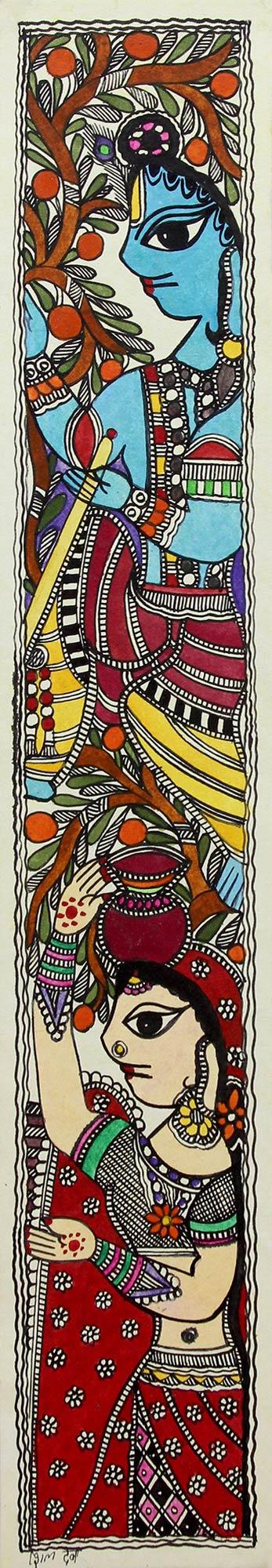 Krishna & Radha Madhubani Hindu Painting on Handmade Paper