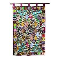 Cotton applique wall hanging, 'Diamonds of Gujarat' - Diamond Motif Gujrati Style Cotton Applique Wall Hanging