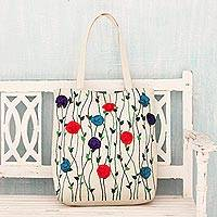 Cotton tote handbag, 'Garden Glamour' - Embroidered Floral Cotton Tote Handbag from India