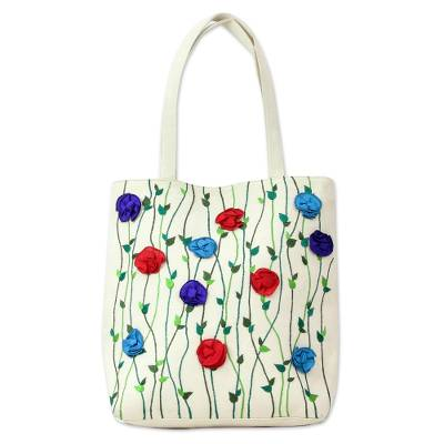 Embroidered Floral Cotton Tote Handbag from India