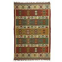 Jute blend dhurrie rug, 'Lovely Patterns' (6x9) - Hand Woven Jute and Wool Blend Dhurrie Rug (6x9)