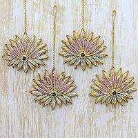Ornaments, 'Golden Lotus' (set of 4) - Hand Crafted Lotus Ornaments from India (Set of 4)
