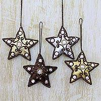 Ornaments, 'Royal Star' (set of 4) - Indian Metallic Beaded Star Ornaments (Set of 4)