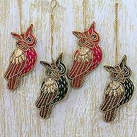 Ornaments, 'Peaceful Owl' - Indian Embroidered Owl Ornaments (Set of 4)