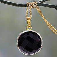 Gold vermeil onyx pendant necklace, 'Ecstasy in Black' - Handcrafted 18k Gold Vermeil and Onyx Pendant Necklace