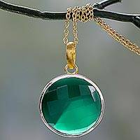 Gold vermeil onyx pendant necklace, 'Ecstasy in Green' - Handcrafted Green Onyx 18k Gold Vermeil Pendant Necklace