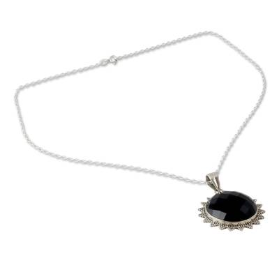 Indian Traditional Onyx and Sterling Silver Sun Necklace