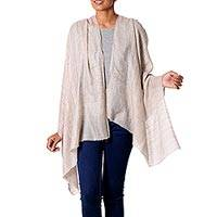 Cashmere shawl, 'Pale Paisley' - Pale Tan Paisley Jacquard Shawl in 100% Cashmere
