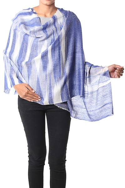 Cashmere shawl, 'Blue Aura' - Indian Handwoven 100% Cashmere Blue Ikat Shawl Wrap