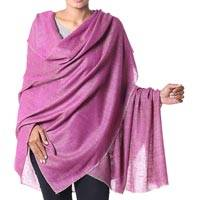 Cashmere shawl, 'Changthang Amethyst' - Handwoven Amethyst Shawl of Hand Spun Indian Cashmere