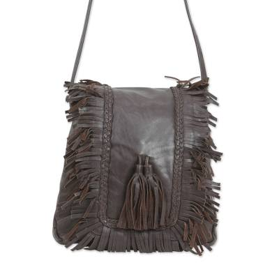 Leather shoulder bag, 'Goa Style' - Espresso Brown Leather Shoulder Bag with 3 Inner Pockets