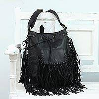 Leather shoulder bag, 'Bohemian Adventure' - Trendy Jet Black Leather Shoulder Bag with Multiple Pockets