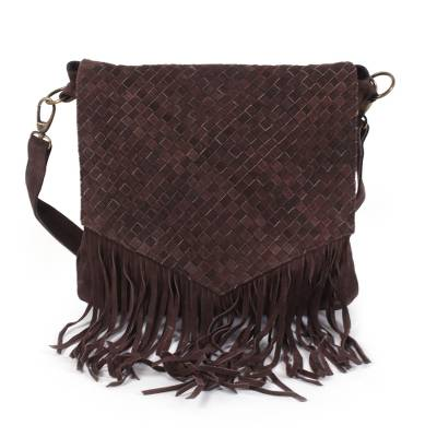 Suede shoulder bag, 'Espresso Weave' - Handcrafted Woven Suede Shoulder Bag in Espresso from India