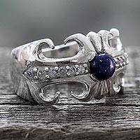 Lapis lazuli cocktail ring, 'Blue Charm' - Hand Crafted Lapis Lazuli and Sterling Silver Cocktail Ring
