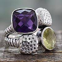 Amethyst and lemon quartz cocktail ring, 'Sparkling Temptation' - Handmade Amethyst and Lemon Quartz Sterling Silver Ring