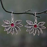 Ruby dangle earrings, 'Leafy Affair' - Hand Crafted Ruby and Sterling Silver Leaf Earrings