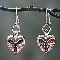 Garnet dangle earrings, 'Radiant Romance' - Hand Crafted Silver and Garnet Heart Shaped Dangle Earrings