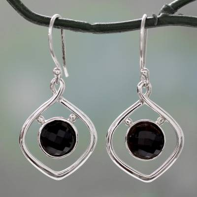 Onyx dangle earrings, 'Midnight Facets' - Handcrafted Contemporary Indian Earrings in Silver and Onyx