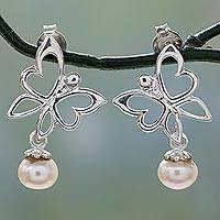 Cultured pearl dangle earrings, 'Jaipur Butterfly' - Sterling Silver Butterfly Earrings with Cultured Pearl