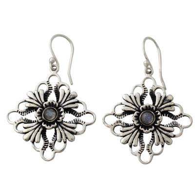 Floral Silver Earrings with Rainbow Moonstone Gems