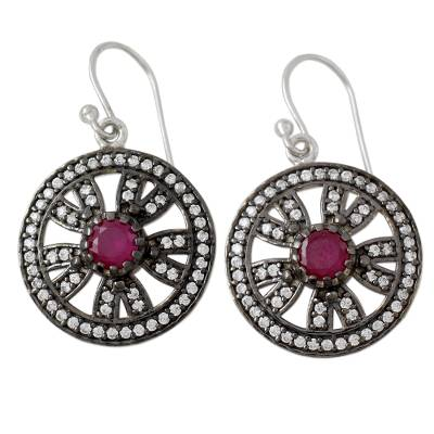 Ruby Earrings in Silver 925 with Sparkling Cubic Zirconia