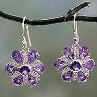 Amethyst flower earrings, 'Sparkling Violets' - Amethyst and Silver Flower Earrings with Cubic Zirconia