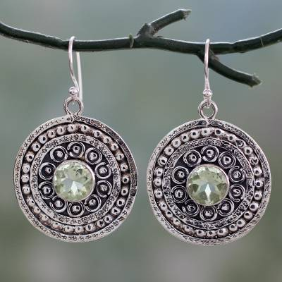 Prasiolite dangle earrings, 'Green Mughal Shield' - Handcrafted India Traditional Hook Earrings with Prasiolite