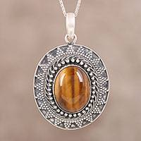 Tiger's eye pendant necklace, 'Watchful Tiger' - Dotted Sterling Silver Tiger's Eye Oval Pendant Necklace