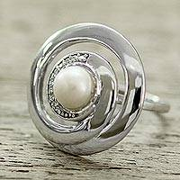 Cultured pearl cocktail ring, 'Peaceful Allure' - Contemporary Silver Cultured Pearl Ring with Cubic Zirconia