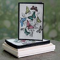 Handmade paper greeting cards, 'Bannerghatta Butterflies' (set of 6) - 6 Handcrafted Paper Rustic Butterfly Theme Greeting Cards