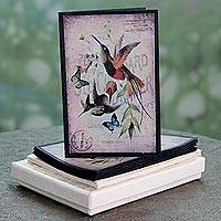 Handmade paper greeting cards, 'Bannerghatta Songbirds' (set of 6) - 6 Antique Style Bird Theme Greeting Cards of Handmade Paper