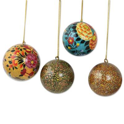 Artisan Crafted Floral Papier Mache Ornaments (Set of 4)