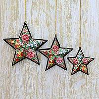 Papier mache ornaments, 'Starry Floral' (set of 3) - Artisan Crafted Papier Mache Star Ornaments (Set of 4)