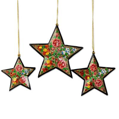 Artisan Crafted Papier Mache Star Ornaments (Set of 4)