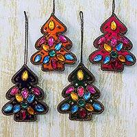 Beaded ornaments, 'Christmas Tree Sparkle' (set of 4) - Four Handcrafted Beaded Christmas Ornaments from India