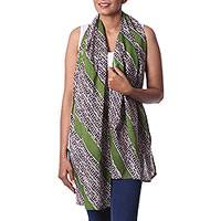 Batik cotton scarf, 'Beautiful Trails' - Batik Cotton Scarf in Green and White from India
