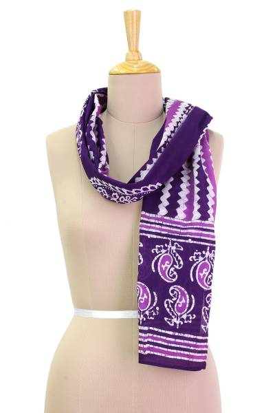 Cotton batik scarf, 'Modern Aubergine Paisley' - Purple and White Paisley and Zig Zag Batik Printed Scarf