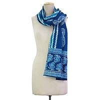 Cotton batik scarf, 'Paisley Mystique' - Versatile All Cotton Blue Scarf Decorated With Paisley Batik