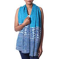 Cotton batik scarf, 'Brilliant Blue' - Handmade Batik Patterned Blue Cotton Scarf from India
