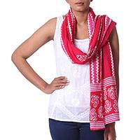 Cotton batik scarf, 'Modern Ruby Paisley' - Ruby and Hot Pink Paisley and Chevron Printed Batik Scarf