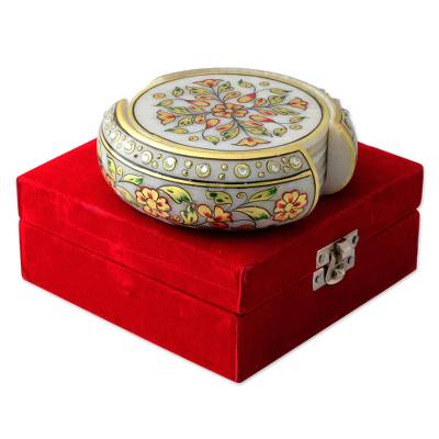 Six 22k Gold Leaf Hand Painted Makrana Marble Coasters Set
