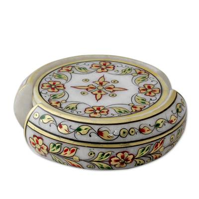 Set of 6 22k Hand Painted Gold Leaf Makrana Marble Coasters